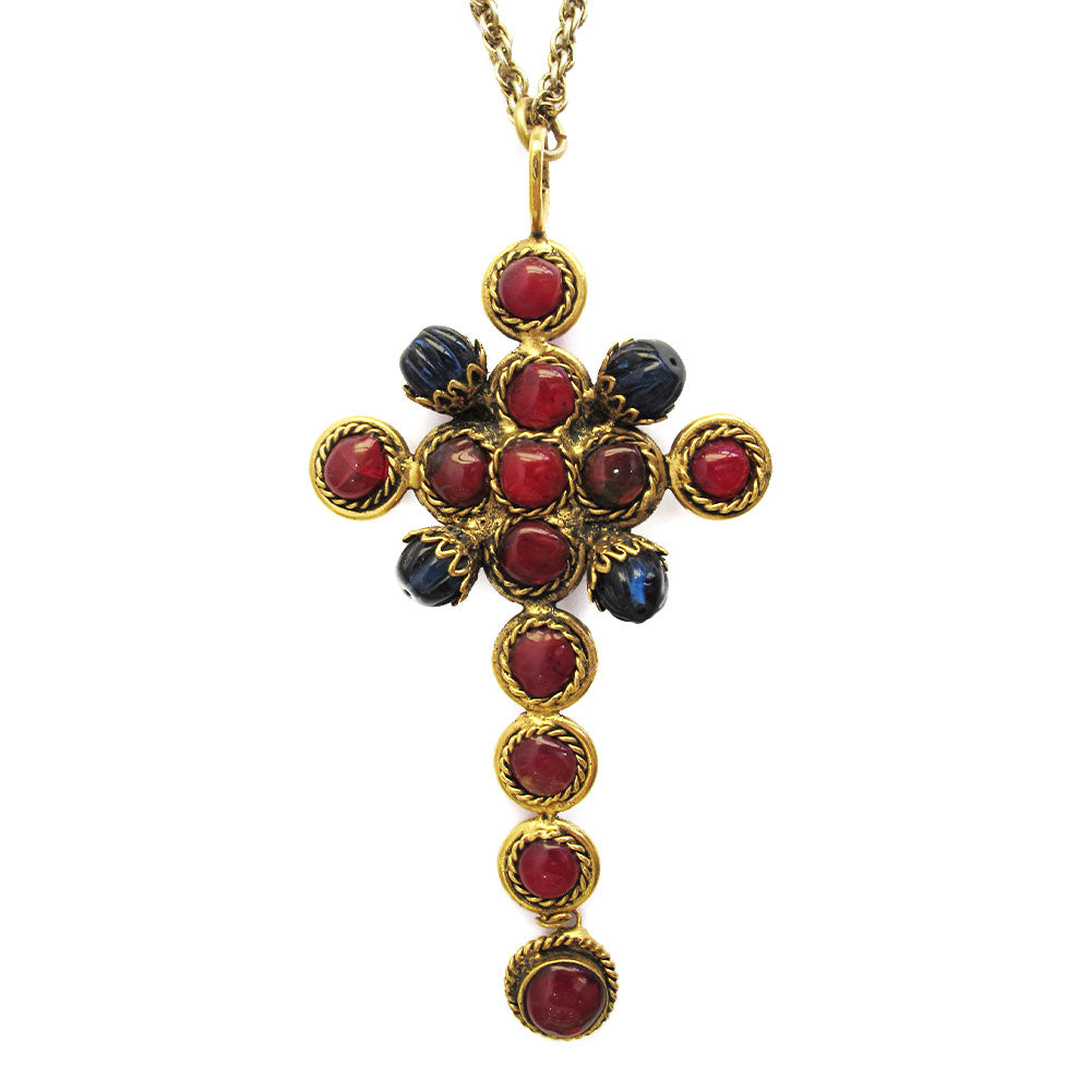 Pate-de-verre (Hand-poured-glass) Cross Pendant Necklace