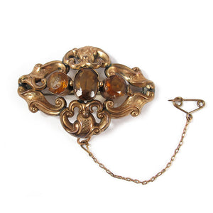 Antique Pinchbeck Crystal Brooch
