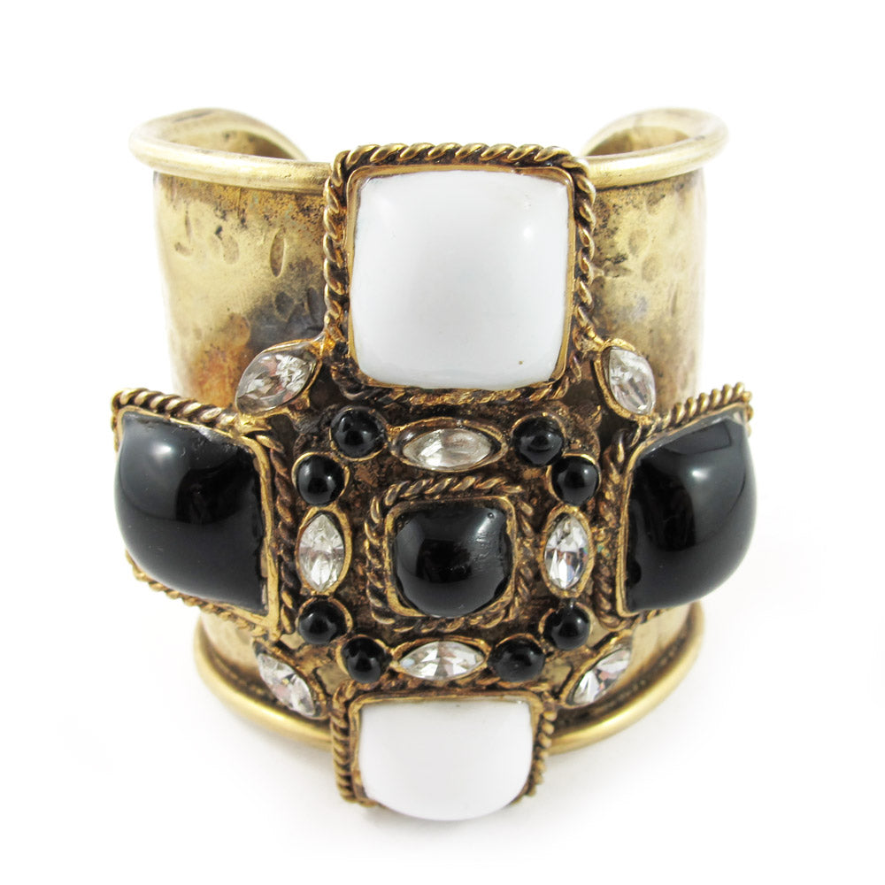 Pate-de-verre (Hand-poured-glass) and crystal cross design cuff