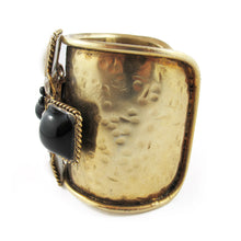 Load image into Gallery viewer, Pate-de-verre (Hand-poured-glass) and crystal cross design cuff
