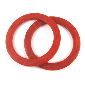 Vintage flat edge Bakelite spacer bangles c.1950's - burnt orange