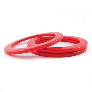 Flat sided Bakelite spacer bangles c.1950's - marbled red