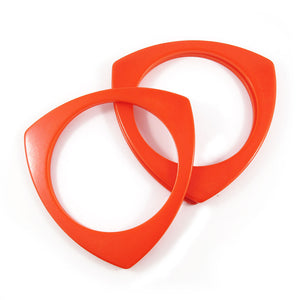 Triangular shaped Bakelite spacer bangles c.1950's - orange