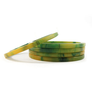 Sliced Bakelite spacer bangles c.1950's - marbled lemon + lime