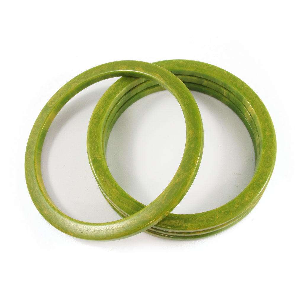 Sliced Bakelite spacer bangles c.1950's - marbled lime