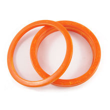 Load image into Gallery viewer, Sliced Bakelite spacer bangles c.1950's - Marbled apricot