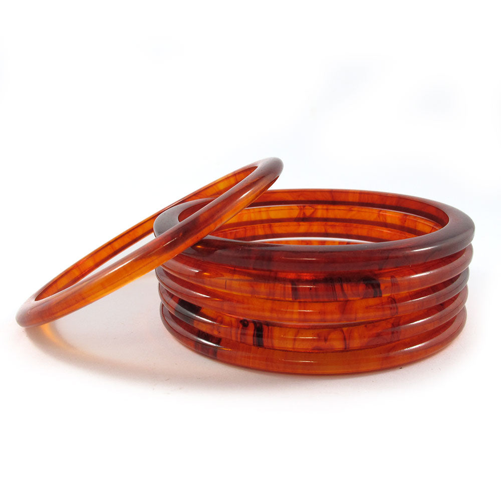 Rounded Bakelite spacer bangles c.1950's - root beer