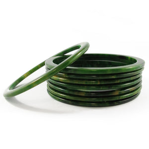 Sliced Bakelite spacer bangles c.1950's - spinach + yellow