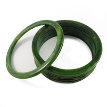 Load image into Gallery viewer, Sliced Bakelite spacer bangles c.1950's - spinach + yellow