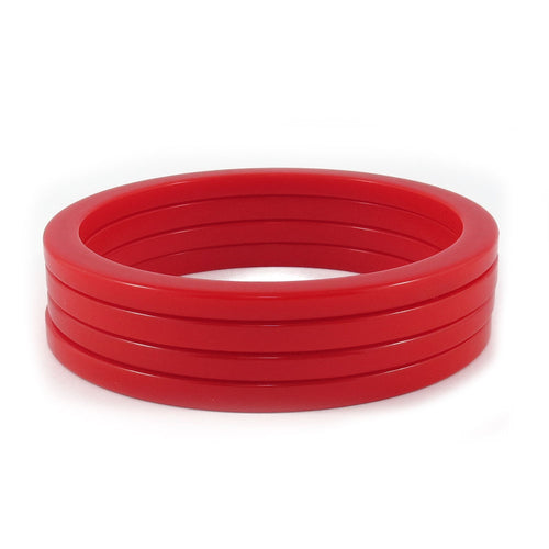 Sliced Bakelite spacer bangles c.1950's - orange-red