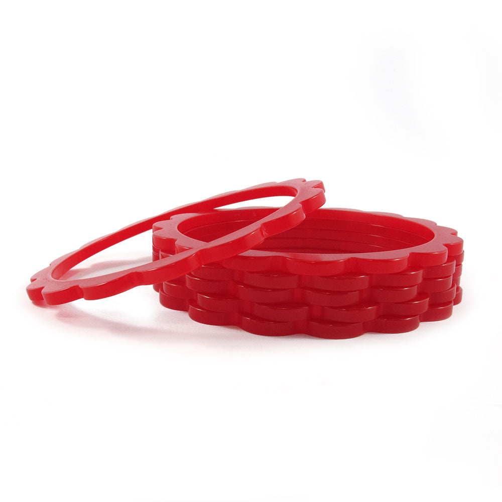 Scalloped Bakelite spacer bangles c.1950's - dear red