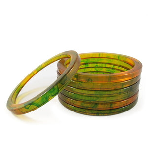 Bakelite spacer bangles c.1950's - marbled apple juice + forest green