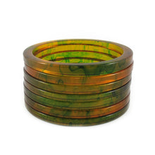 Load image into Gallery viewer, Bakelite spacer bangles c.1950's - marbled apple juice + forest green
