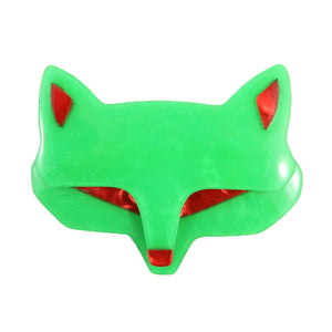 Lea Stein Goupil Fox Head Brooch - Peppermint Green, Red Ears