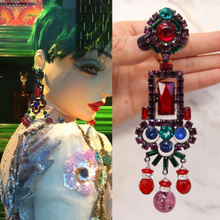 Load image into Gallery viewer, Lawrence VRBA Signed Large Statement Crystal Earrings - Multi (clip-on)