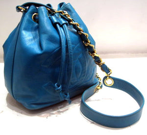 Chanel Turquoise Leather Drawstring Bag