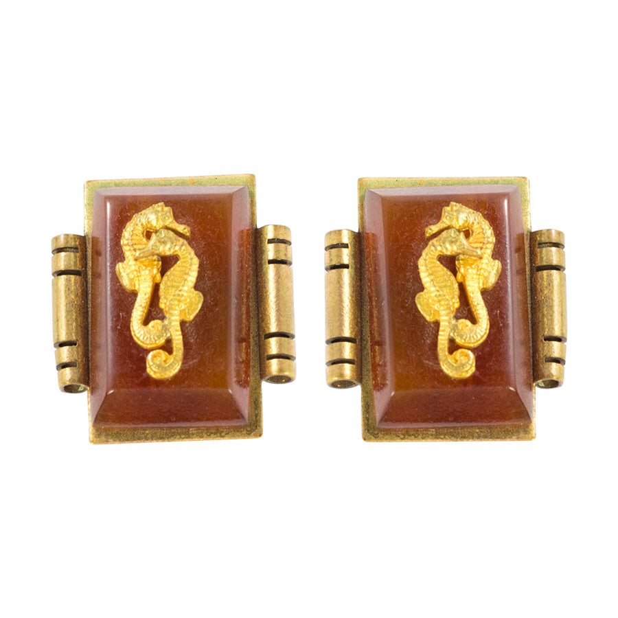Jean Painleve Vintage Bakelite, Gilded Brass Seahorse Clip On Earrings c. 1930