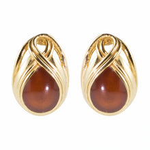 Load image into Gallery viewer, Vintage Lanvin Signed Brown Coloured Cabochon Earrings c. 1970