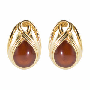 Vintage Lanvin Signed Brown Coloured Cabochon Earrings c. 1970