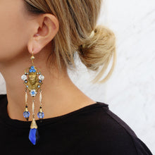 Load image into Gallery viewer, Vintage Egyptian Revival Motif Pendant and Blue Venetian Glass Earrings c. 1940s