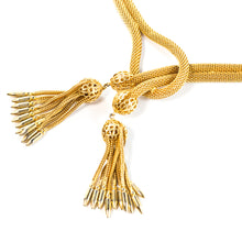 Load image into Gallery viewer, Hobe Vintage Signed Mesh and Tassel Lariat Necklace c. 1950