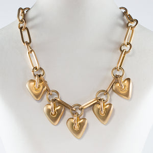 Givenchy Signed Vintage Modernist Love Heart Charm Collar Necklace c. 1980