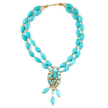 Load image into Gallery viewer, Vintage Miriam Haskell Signed 2-Strand Turquoise Glass Bead Floral Design Necklace c. 1950