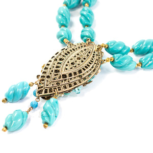 Vintage Miriam Haskell Signed 2-Strand Turquoise Glass Bead Floral Design Necklace c. 1950