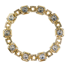 Load image into Gallery viewer, Vintage Ciner NYC Signed Clear Crystal and Gold Tone Chain Collar Necklace c. 1970