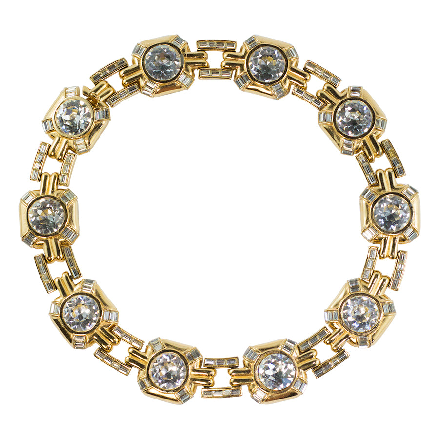 Vintage Ciner NYC Signed Clear Crystal and Gold Tone Chain Collar Necklace c. 1970