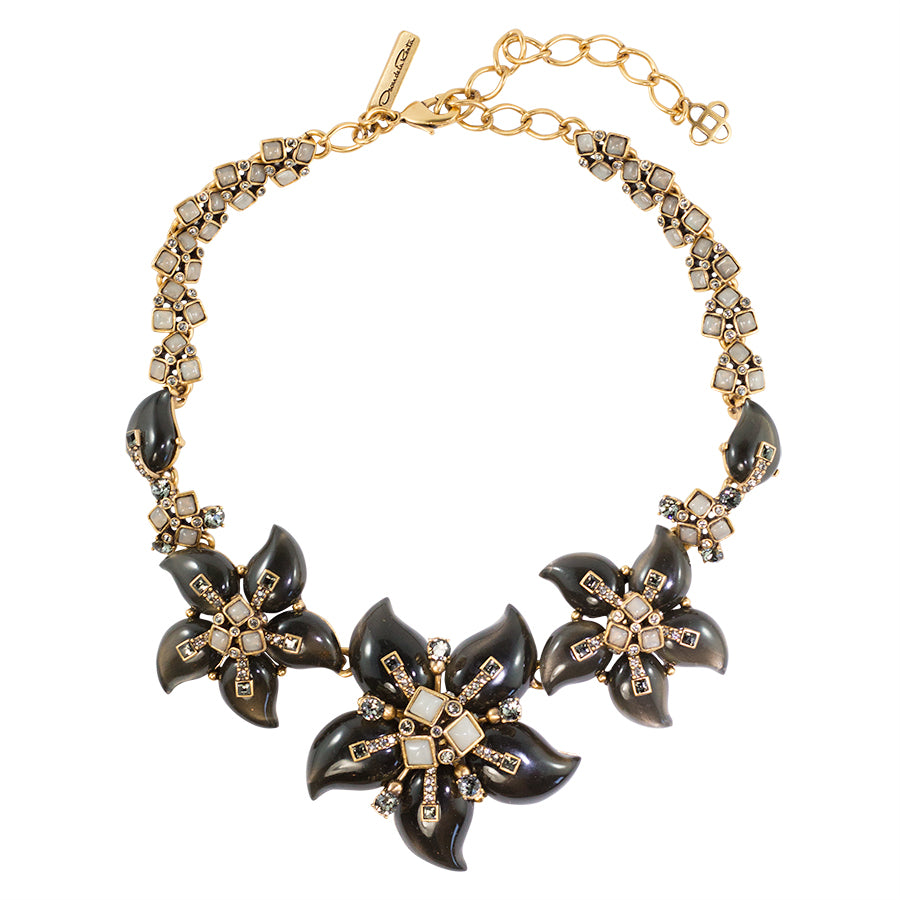 Vintage Oscar de la Renta vintage gold-tone multi flower statement necklace c. 1970