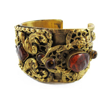 Load image into Gallery viewer, Unique Pate-de-verre (Hand poured Glass) intricate filigree cuff