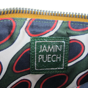 Pre Owned Jamin Puech (France) Green Leather 60's Inspired Clutch