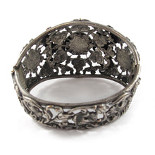 Load image into Gallery viewer, USA Vintage Floral Filigree Silver Tone Hinged Cuff with Cabachons