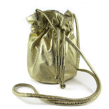 Load image into Gallery viewer, Pre Owned Metalic Gold Leather Draw String Pouch Bag