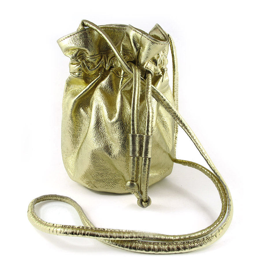 Pre Owned Metalic Gold Leather Draw String Pouch Bag