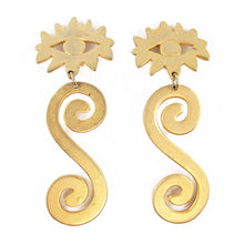 Load image into Gallery viewer, Vintage brushed matte finish gold tone eye and swirl earrings