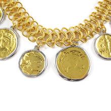 Load image into Gallery viewer, Kenneth Jay Lane Loop Goldtone Choker Necklace with Vintage Look Coin Pendants
