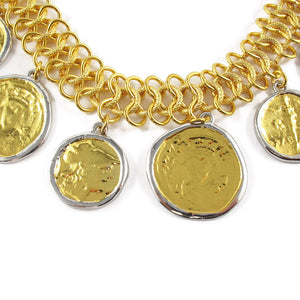 Kenneth Jay Lane Loop Goldtone Choker Necklace with Vintage Look Coin Pendants