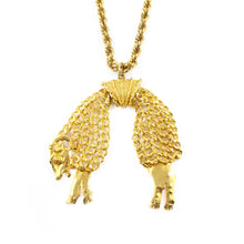 Load image into Gallery viewer, Exquisite Rare Retro Style Signed MONET Gold-tone Ram Pendant Necklace c. 1950