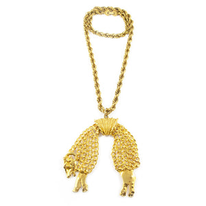Exquisite Rare Retro Style Signed MONET Gold-tone Ram Pendant Necklace c. 1950