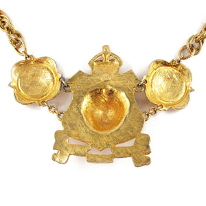 Bold Vintage Accessocraft NYC Lion Head Shield Emblem Statement Runway Necklace c.1960's