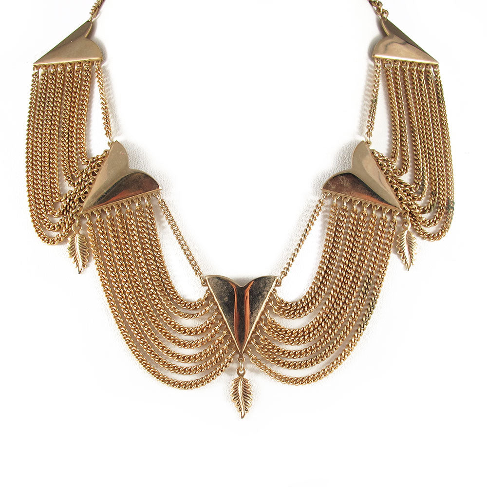 USA vintage gold plated leaf detail neckpiece