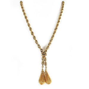 Vintage gold plated double filigree tassel necklace c. 1970's