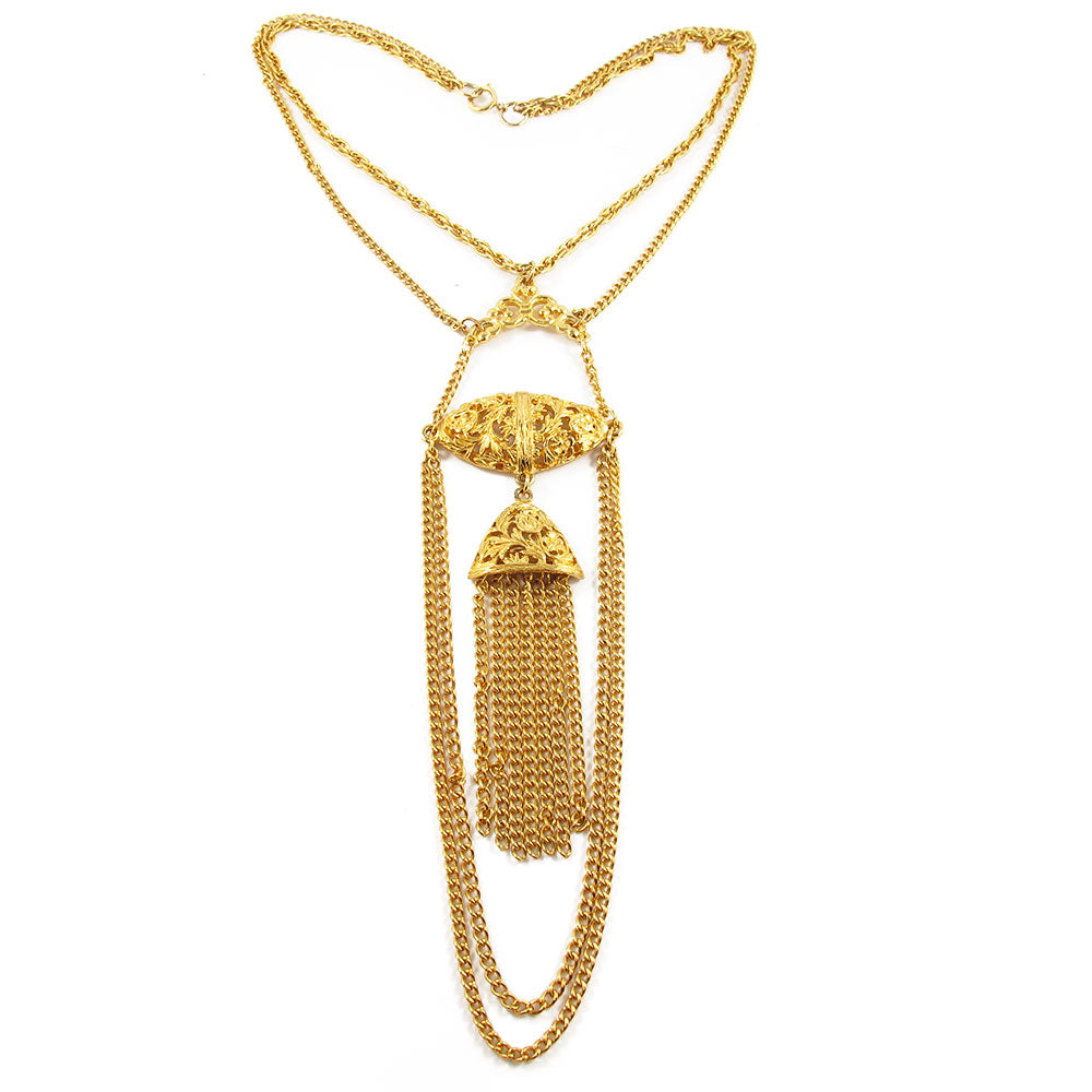 Vintage gold plated USA tassel and pendant necklace c. 1980's
