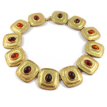 Load image into Gallery viewer, French vintage disc necklace with glass amber beads c.1950's
