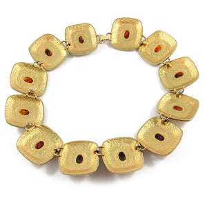 French vintage disc necklace with glass amber beads c.1950's