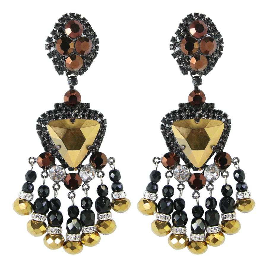 Lawrence VRBA Signed Large Statement Crystal Earrings - Black, Gold (clip-on)
