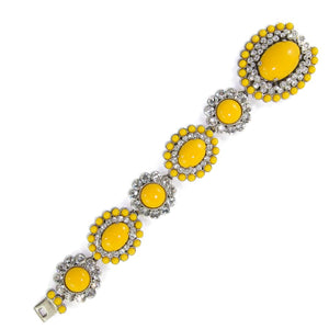 Miu Miu Pre-Owned Signed Yellow Glass Cabochon & Clear Crystal Statement Bracelet