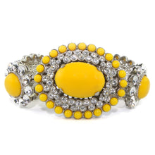 Load image into Gallery viewer, Miu Miu Pre-Owned Signed Yellow Glass Cabochon & Clear Crystal Statement Bracelet